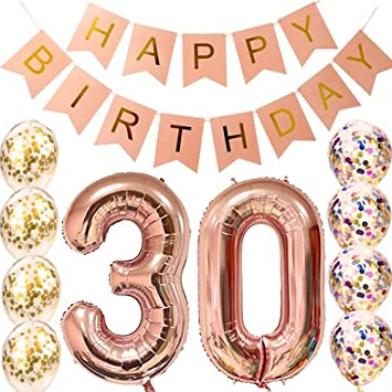 30th Birthday Decorations Party Supplies Balloons Rose Gold30th Banner