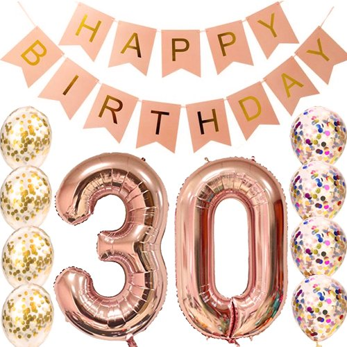 Sllyfo 30th Birthday decorations Party supplies-30th Birthday Balloons Rose Gold,30th birthday banner,Table Confetti decorations,30th birthday for women,use them as Props for Photos