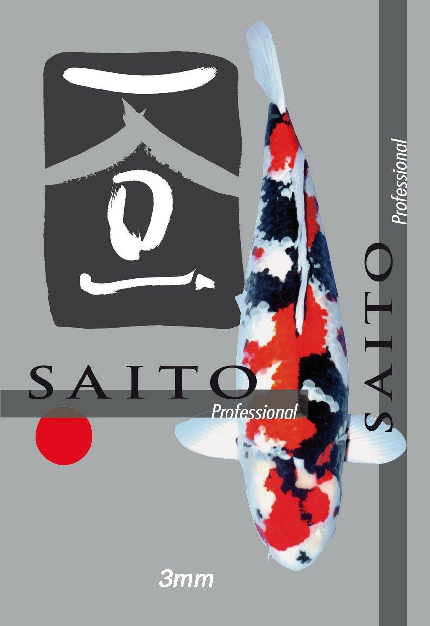Saito Professional Koifutter, Premium Schwimmfutter der Spitzenklasse für optimales Wachstum, leuchtende Farben und eine tolle Körperform bei Koi aller Varietäten, 15kg Sack, 3mm Koipellets