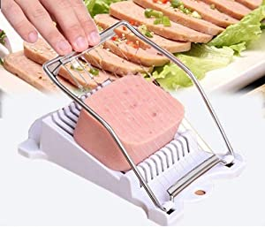 Spam Slicer Luncheon Meat Slicer Stainless Steel Durable Egg Fruit Slicer Soft Food Cheese Sushi Cutter Canned Meat Cutting Machine with 10 Wires Stainless Steel Kitchen Splitter (White)