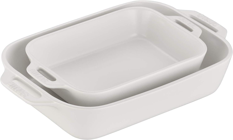 STAUB 40508-073 Ceramics Rectangular Baking Dish Set, 2-piece, Matte White