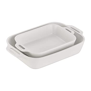 Staub 40508-073 Ceramics Rectangular Baking Dish Set, 2-piece, Matte White