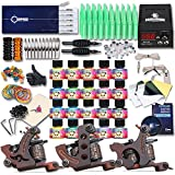 Dragonhawk Complete Tattoo Kit 3 Pro Machines Gun 20 Immortal Inks Power Supply 50 Needles Tips Grips 3-2YMX