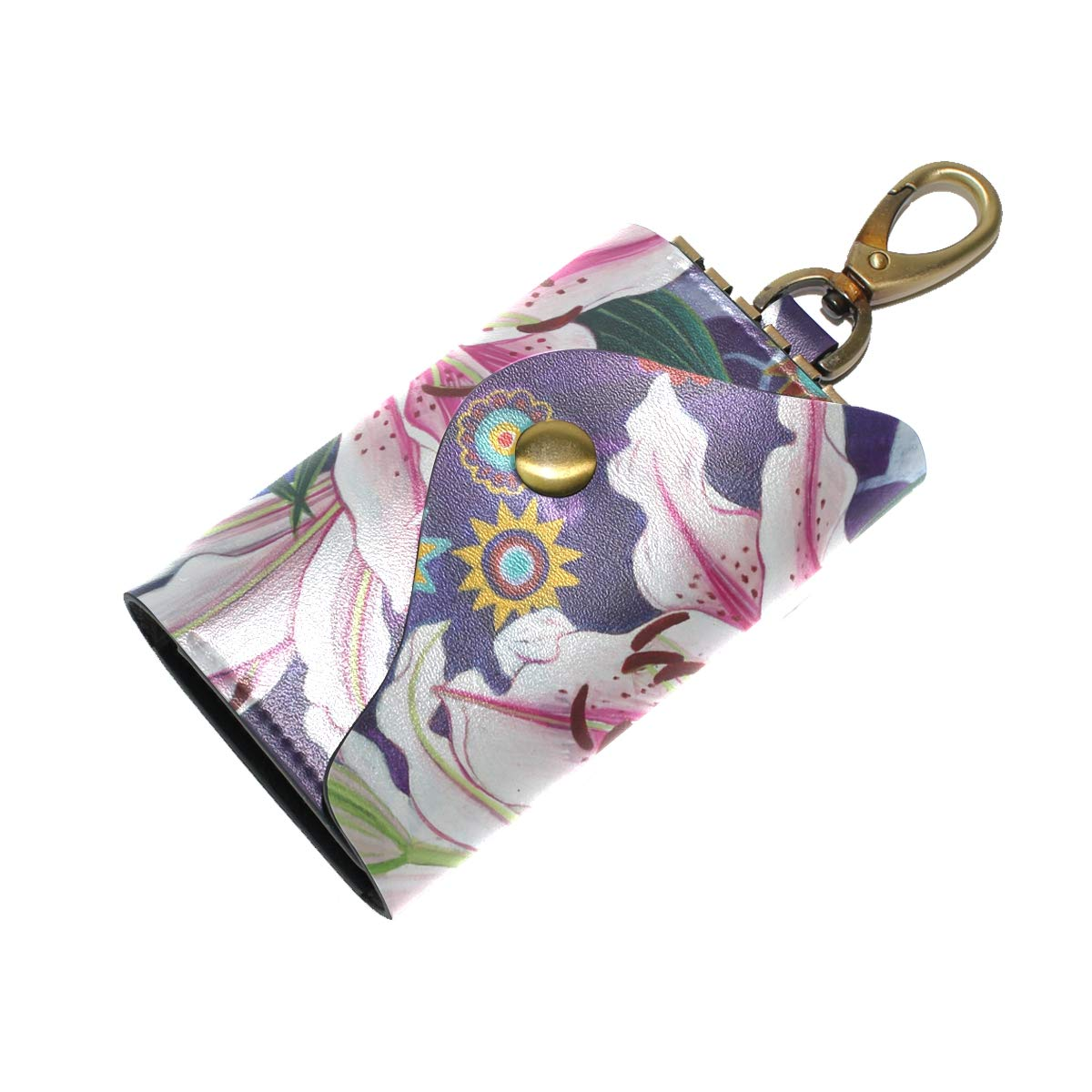 KEAKIA Lily Leather Key Case Wallets Tri-fold Key Holder Keychains with 6 Hooks 2 Slot Snap Closure for Men Women