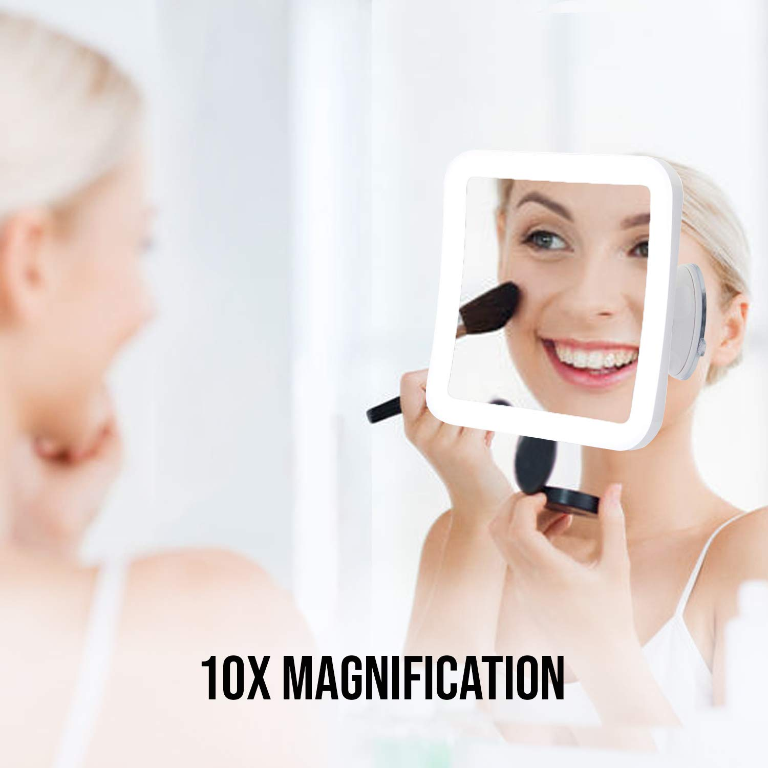 JRA CARE LED Lighted 10x Magnifying Mirror Square Travel /& Bathroom Portable Vanity Mirror with 360 Rotation /& Locking Suction