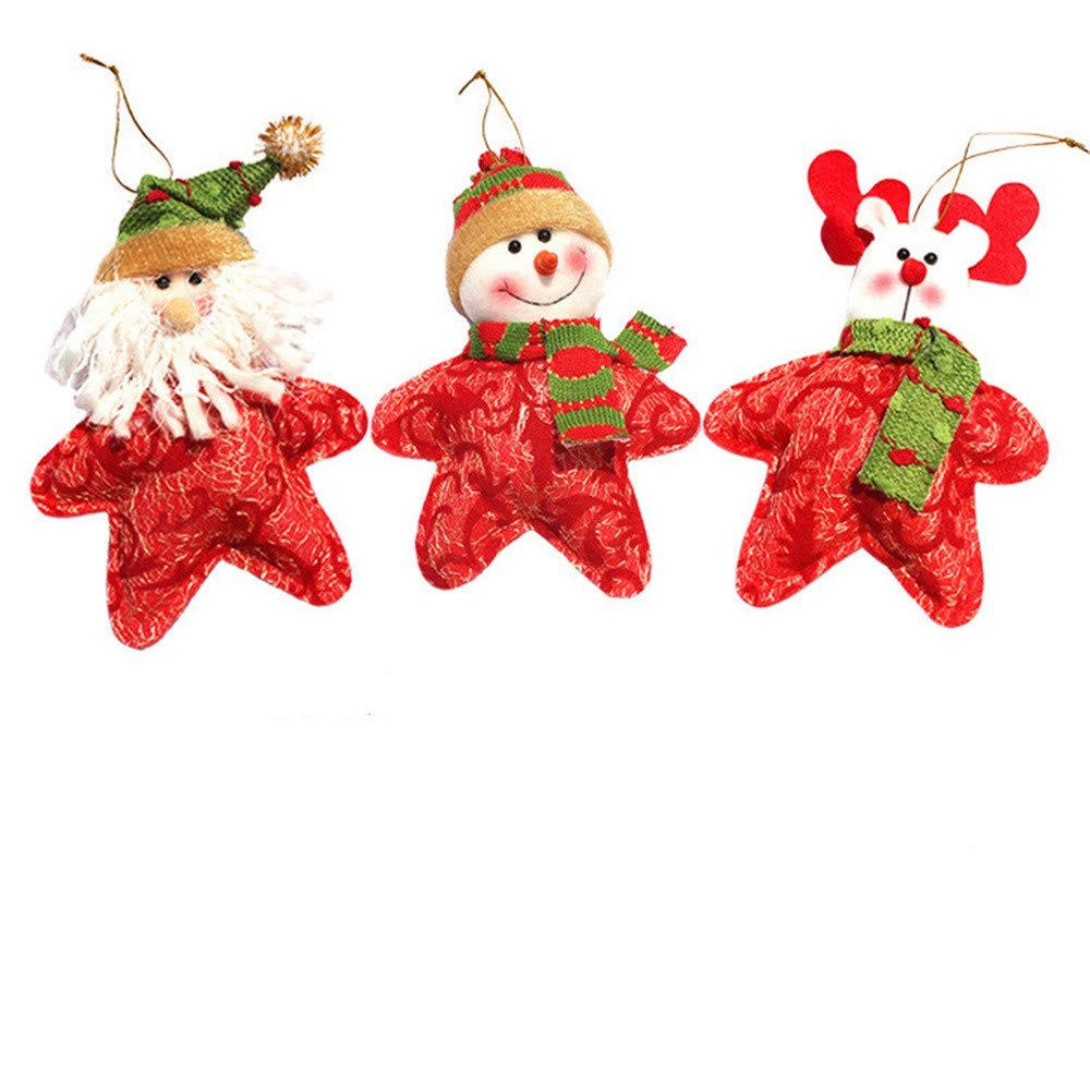 USHOT Christmas Dolls 3 Sets Xmas Toys Christmas Tree Doll Assembled Version of Christmas Combination Suit
