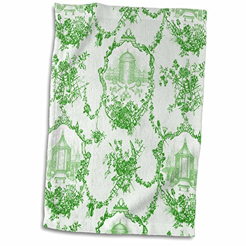 3dRose 3D Rose Garden French Lime. Popular Toile Print Hand Towel, 15