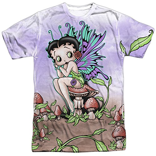 Betty Boop Iconic Cartoon Character Fairy Cartoon Adult Front Print T-Shirt (Adult Cartoon Characters)
