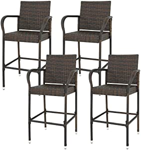 Allblessings Set of 4 Chairs Patio Brown Wicker Barstool Bar Stool 250lbs Capacity Outdoor/Indoor Furniture