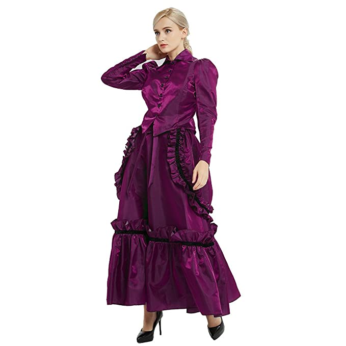 Old Fashioned Dresses | Old Dress Styles GRACEART Steampunk Girl Costume Edwardian Dress with Bustle Top Skirt $45.99 AT vintagedancer.com
