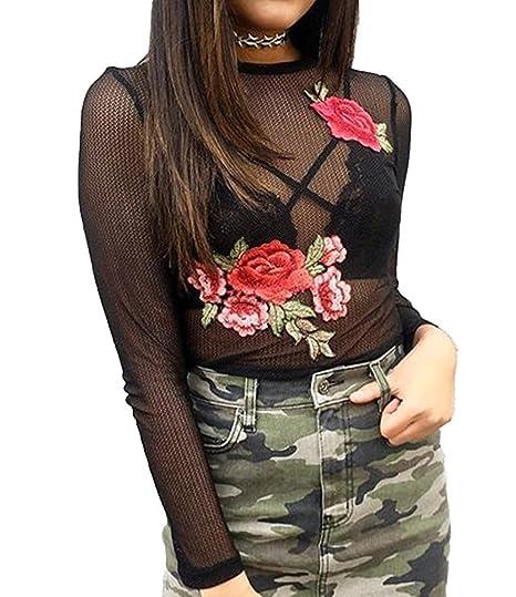 Dooxi Mujer Verano Manga Larga Bordado Blusa Top Perspectiva Transparente Crop Tops Negro S