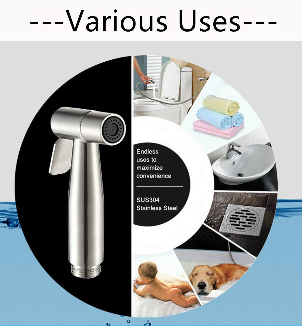 Premium Stainless Steel Handheld Diaper Shattaf Toilet Bidet Sprayer Shower Head Only Brushed Nickel Type A Lavatory Bathroom Replacement Accessories Bathtub Faucet Replacement Parts