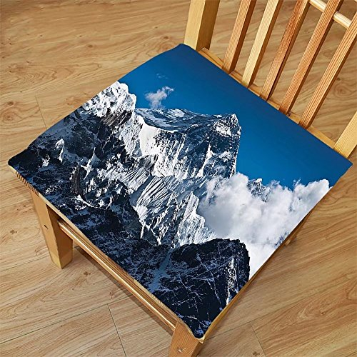 Nalahome Set of 2 Waterproof Cozy Seat Protector Cushion Lake House Decor Everest Peak Landscape Clouds on Wild Snowy Summit Nobody in Nature Theme Blue White Printing Size 16x16inch (Washer Summit Dryer)