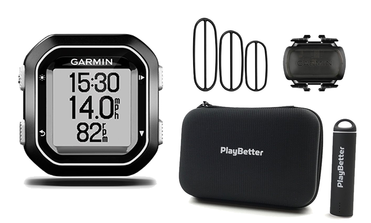 Garmin Edge 25 Cadence Bundle with Cadence Sensor, PlayBetter Portable USB Charger & Hard Carrying Case, Bike Mount, USB Cable | World's Smallest GPS Cycling Computer