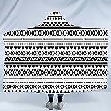 Sleepwish Aztec Hooded Blanket Warm Geometric Blanket Sherpa Throw Black and White Tribal Blanket with Hood for Kids Adults (60''x 80'')