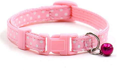 WSLCN Pet Collar for Cat Dog Adjustable Pet Choker with Bell Cat Dog Dog Accessories Neckties Pink Neck 25-32cm