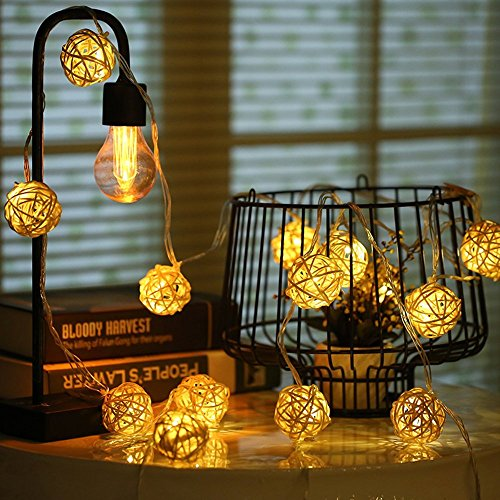 cotw cream white rattan ball string lights 20 leds battery operated warm white indoor decoration. Black Bedroom Furniture Sets. Home Design Ideas