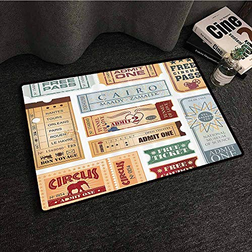 Vintage Interior Door mat Various Tickets Collection Circus Cinema Museum Festival Old Concept Easy to Clean W31 xL47 Baby Blue Light Brown Red]()