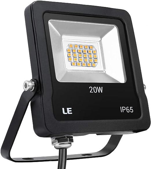 LE Foco Proyector LED de 20W, 1600 Lúmenes,Luces Exteriores Blanco ...