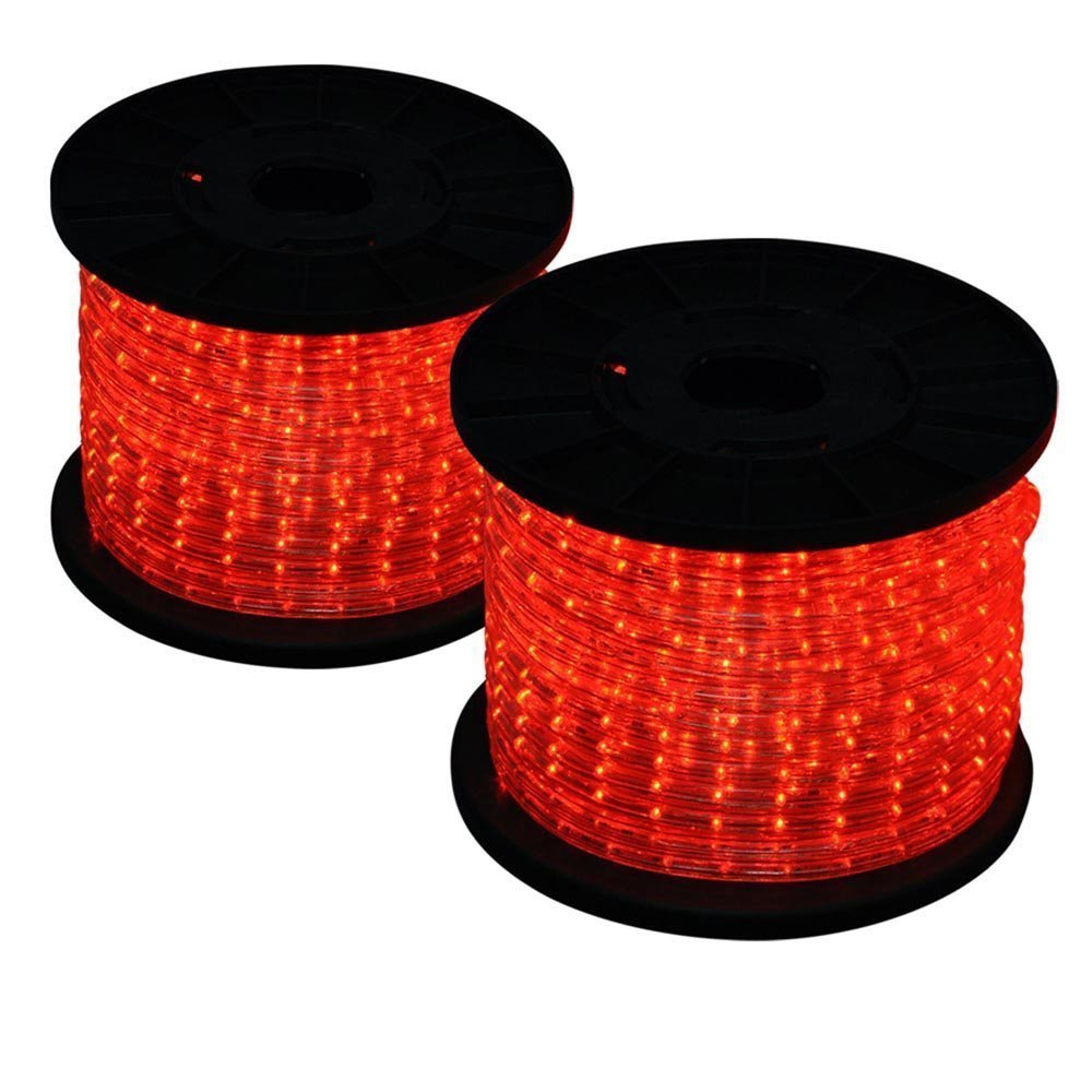 Grandey 32FT 50FT 65FT 98FT 150FT 295FT 2 Wire LED Rope Light Indoor Outdoor Home Holiday Valentines Party Restaurant Cafe Decor GRL-50-CW LED Rope Light(295FT, Red)