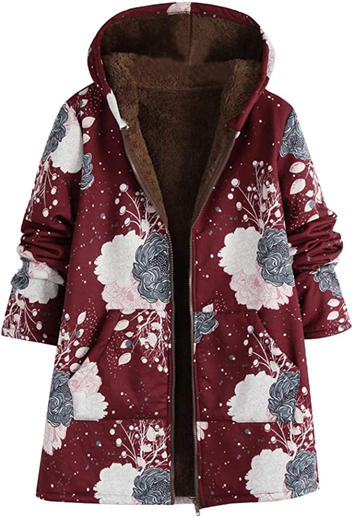 5XL 2019 Winter Women Vintage Hoodie Coats Oversized Fashion Print Thicker Jackets Casual Warm Fur Tops Outwear