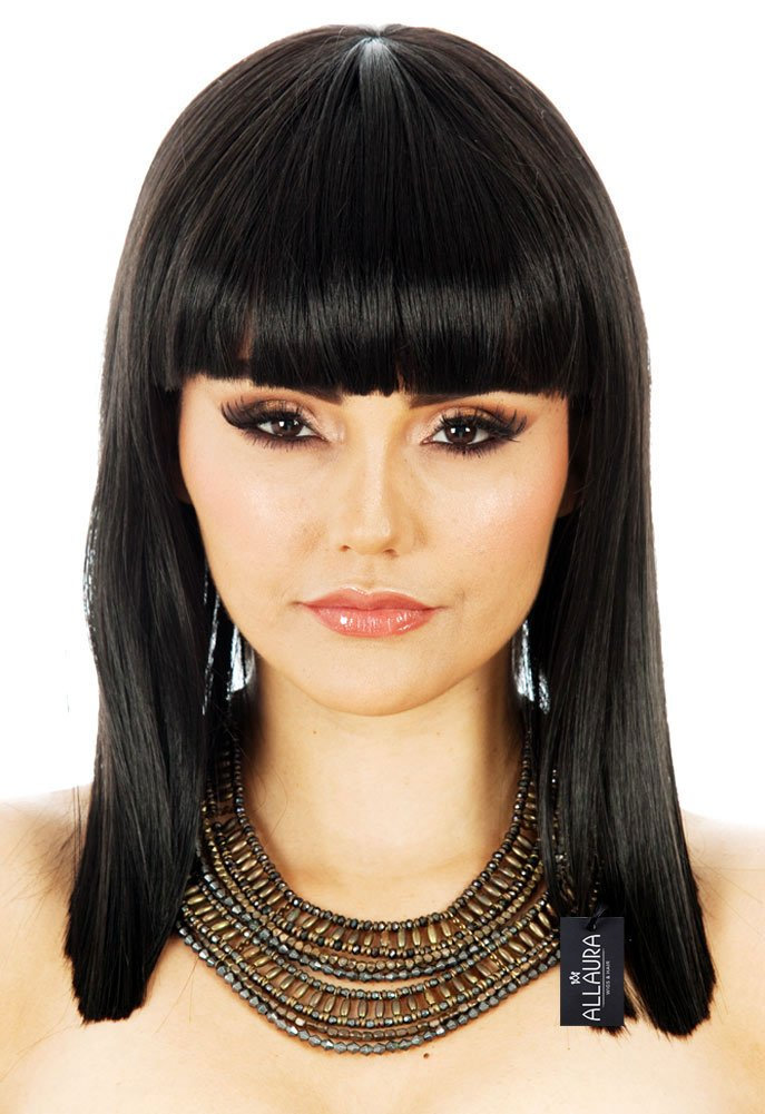 ALLAURA Long Bob Cleopatra Costume Wig – Straight Black Bob with Bangs – Egyptian Hair