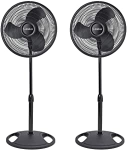 Lasko 16 Inch Oscillating 3 Speed Adjustable Pedestal Stand Fan, Black (2 Pack)