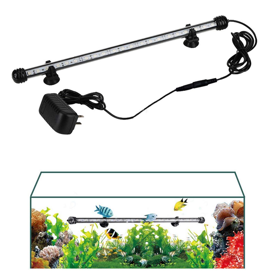 blueeandWhite 28cm 11in blueeandWhite 28cm 11in Fish Tank Light Pure color Aquarium Lights 5050 LED Lighting for Fresh and Saltwater Aquarium,28-88cm 11-35in,blueeandWhite,28cm 11in