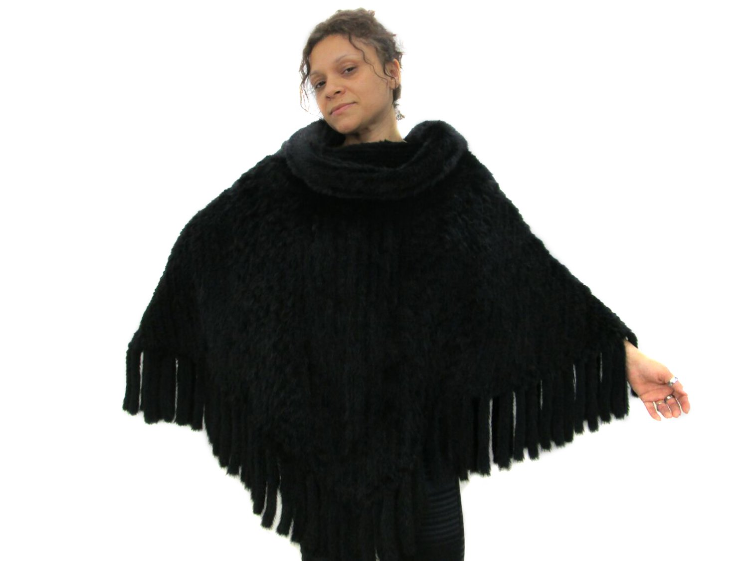 Knitted & Woven Ranch Mink Pullover Poncho with Cowl Neck by FursNewYork
