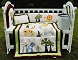NAUGHTYBOSS Baby Bedding Set Cotton 3D Embroidery Zebra Giraffe Forest Animals Pattern Quilt Bumper Cushion Pillow 4 Pieces Set Multicolor