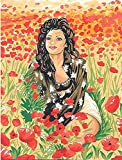 LADY IN THE POPPY FIELD NEEDLEPOINT CANVAS FROM MARGOT DE PARIS #133.3489, CANVAS ONLY, NOT A KIT