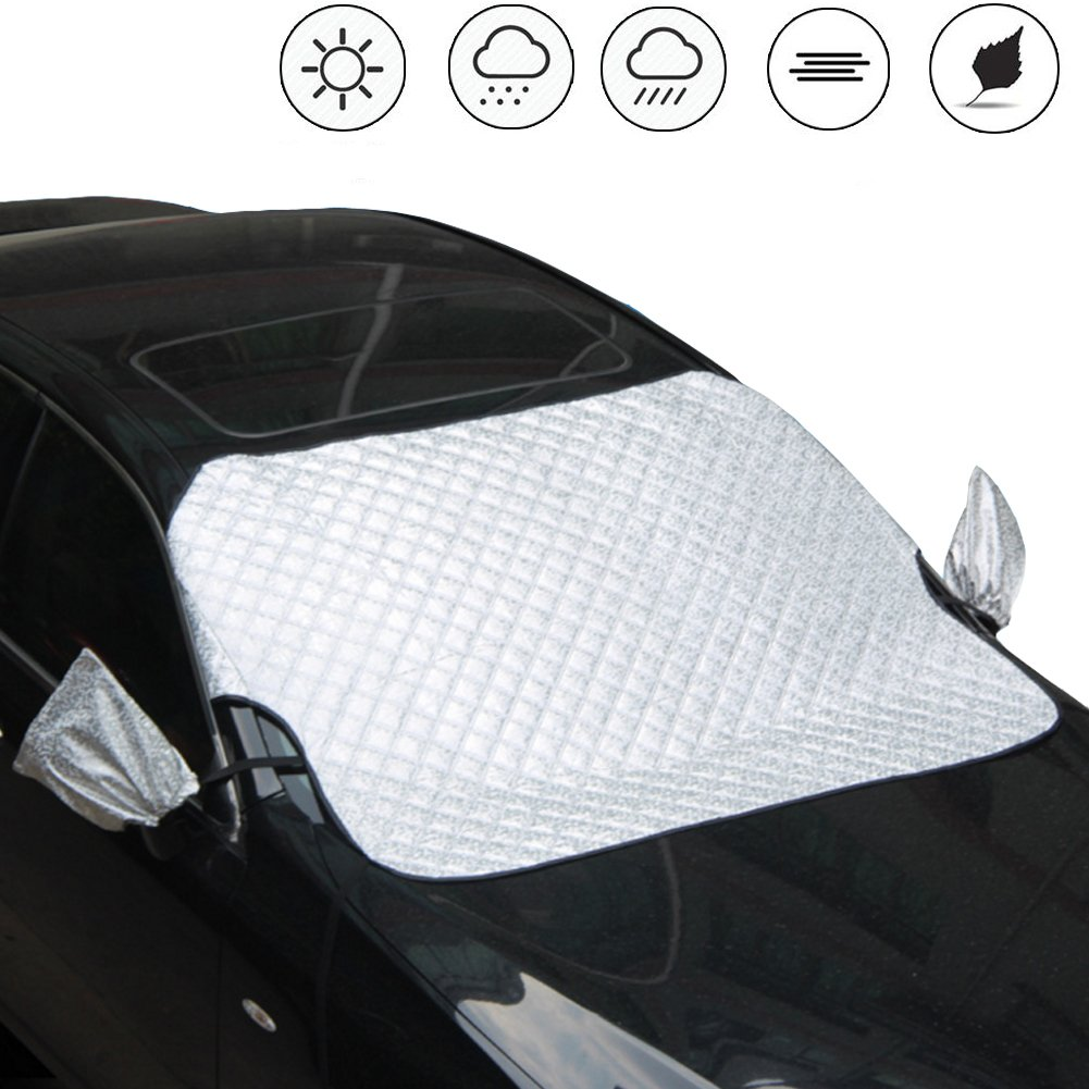 Car Snow Cover Windshield - Auto Ice Frost Rain Shade Protector with Windproof Strap Hooks, Rearview Mirror Wings, Fits for SUV, Truck, Universal Cars (X-Large/ 56' x 44') Universal Cars (X-Large/ 56 x 44) Aashadel