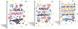 Framed Sea Life Art Print,Ocean Worlds&Inspirational Lettering Wall Art Set of 3 Pieces (11.8x15.6inch), Colorful bubbles,Starfish Artworks for Kids Room Nursery Decor-Ready To Hang