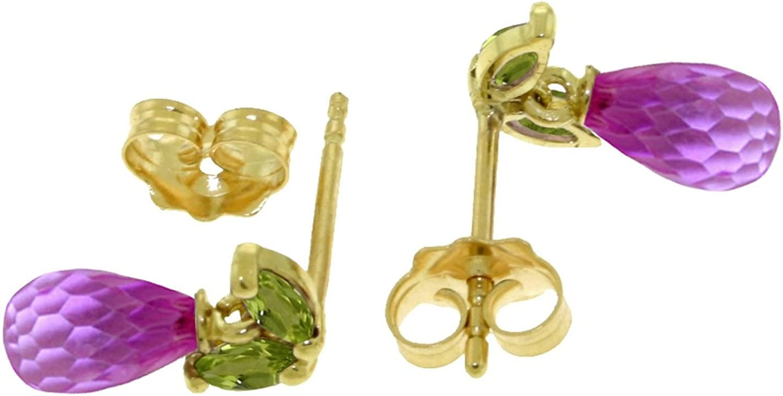 ALARRI 3.4 Carat 14K Solid Gold Stud Earrings Peridot Pink Topaz