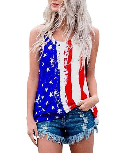 b5816f9247e YIPWIN Womens American Flag Tank Top USA Flag Stripe Printed Stars Vests  Tops Blouse L