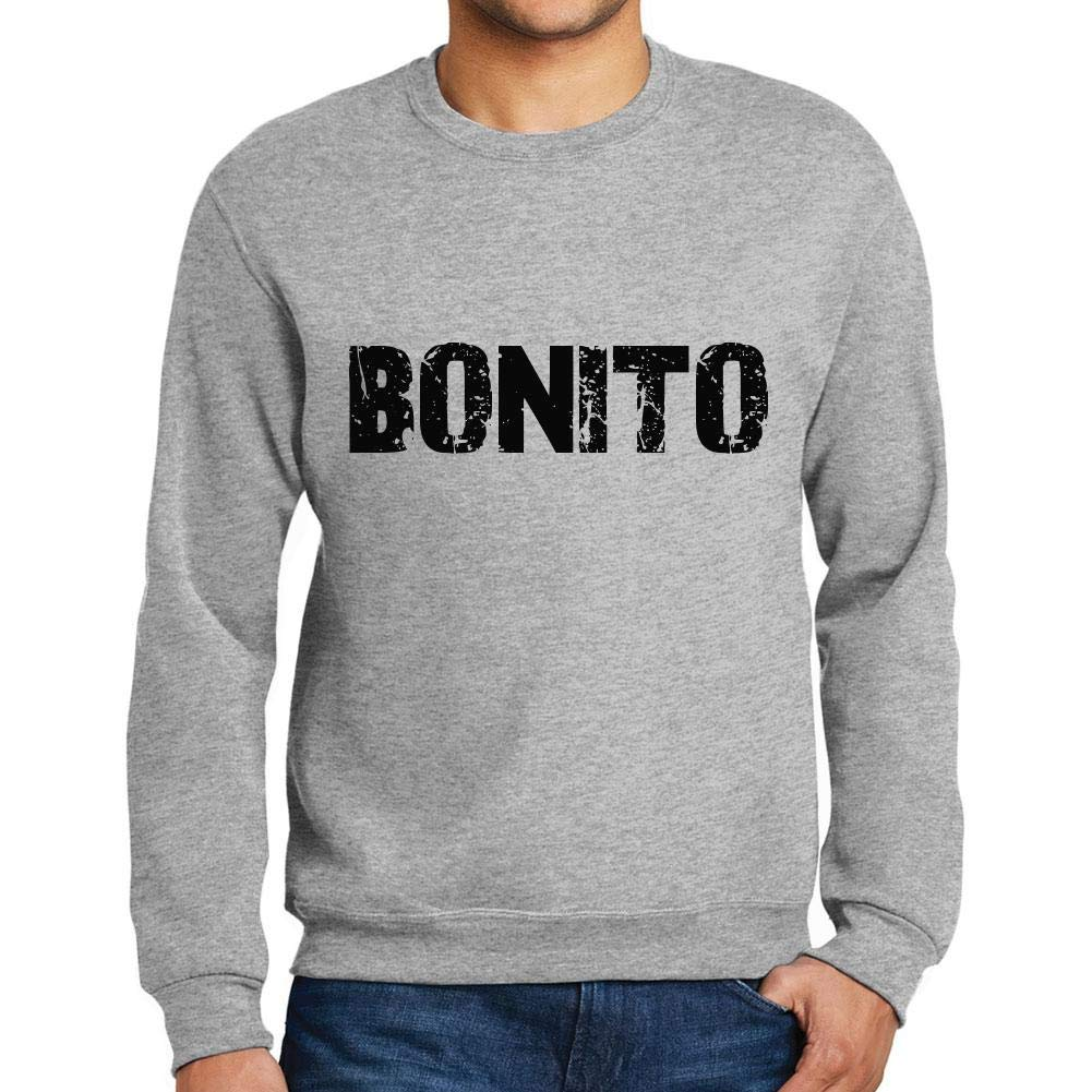 Ultrabasic Men/'s Printed Graphic Sweatshirt Popular Words Bonito Grey Marl