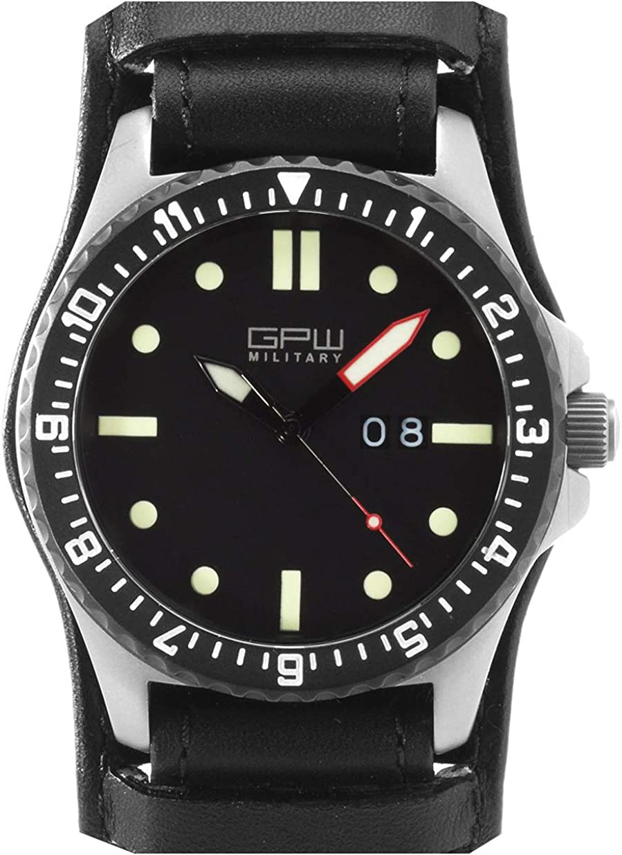 German Military Titanium Watch. GPW Big Date. Sapphire Crystal. Black German Bund Leatherstrap. 200M W R.