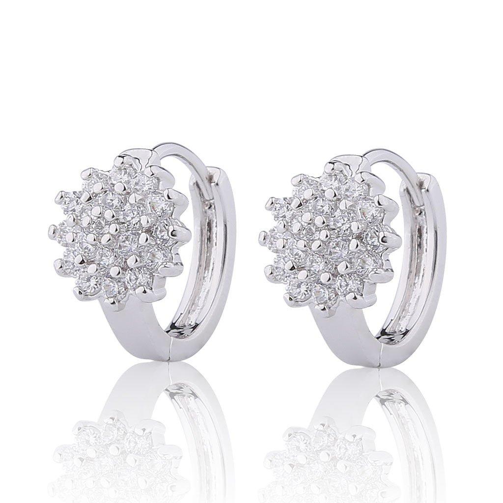 GULICX Jewellery White Clear Cubic Zirconia Flower Hoop Pierced Lever Back Earrings Silver Tone