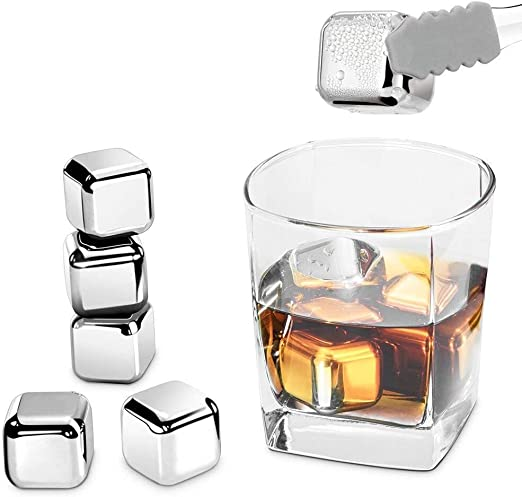 Stainless Steel Ice Cubes Chilling Stones Rocks Reusable for Whiskey Wine Drinks