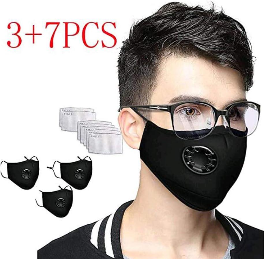 CRITY Bandanas reutilizables de algodón lavables Protección facial completa transpirable con válvula de respiración para adultos 7 Reemplazos del filtro de carbón activado (Black)