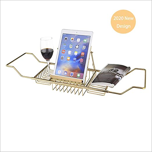 shelf Bath Tub Caddy Stainless Steel Bathtub Tray Over Bath Tub Racks Shower Organizer With Extending Sides Removable Wine Glass Book Holde Color:Gold