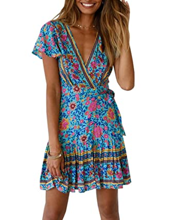 0883060527 GAMISOTE Womens V Neck Wrap Dress Boho Floral Print Ruffle Tie Waist Mini  Dresses Green