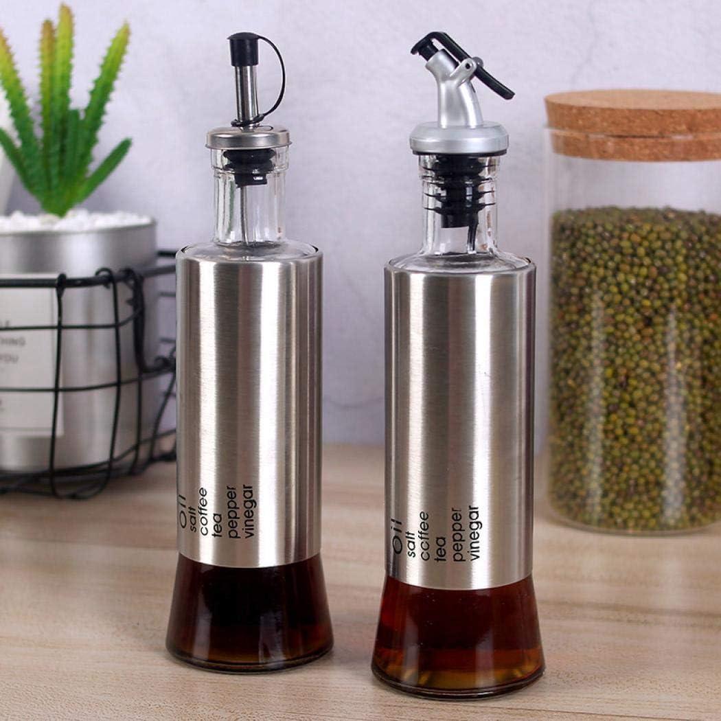 245x666mm,300ml Stainless Steel Olive Oil Dispenser Bottle Oil Dispenser 300ml Glass Cooking Oil and Vinegar Cruet for Kitchen and BBQ