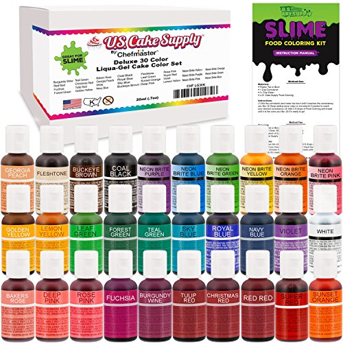 30 Color Food Coloring Liqua-Gel Ultimate Decorating Kit Primary, Secondary and Neon Colors – U.S. Art Supply Food Grade, 0.75 fl. oz. (20ml) Bottles, Non-Toxic Popular - Art Burgundy Deep