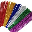 100 Glitter Pipe Cleaners 30cm x 6mm Assorted Colours (50% More Tinsel On Each Pipe Cleaner)
