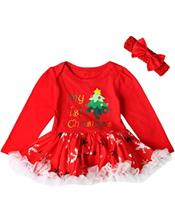 44deb7cf7 Janly® My 1st Christmas Outfits Toddler Newborn Letter Printed Swing  Ruffles Tutu Dress+ Red Headbands