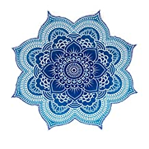 """Large Round Lotus Flower Mandala Tapestry - 100% Cotton - Outdoor Beach Roundie - Hippie Gypsy Boho Throw Towel Tablecloth Hanging - Ocean Blue Turquoise - Floral Circle Design/Shape 72"""""""
