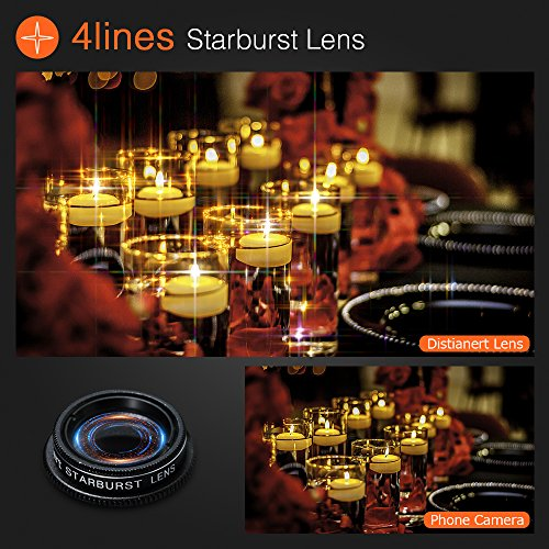 6-in-1 Cell Phone Camera Lens Kit, 12x Telephoto Zoom Lens, 0.62x Wide Angle & 20x Macro, 235° Fisheye, Starburst, and Professional CPL Lens+ Phone Holder & Tripod for iPhone X/8/7/6/6s Plus, Android, by Distianert (Image #5)