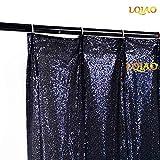 LQIAO Navy Blue Sequin Curtain Panel