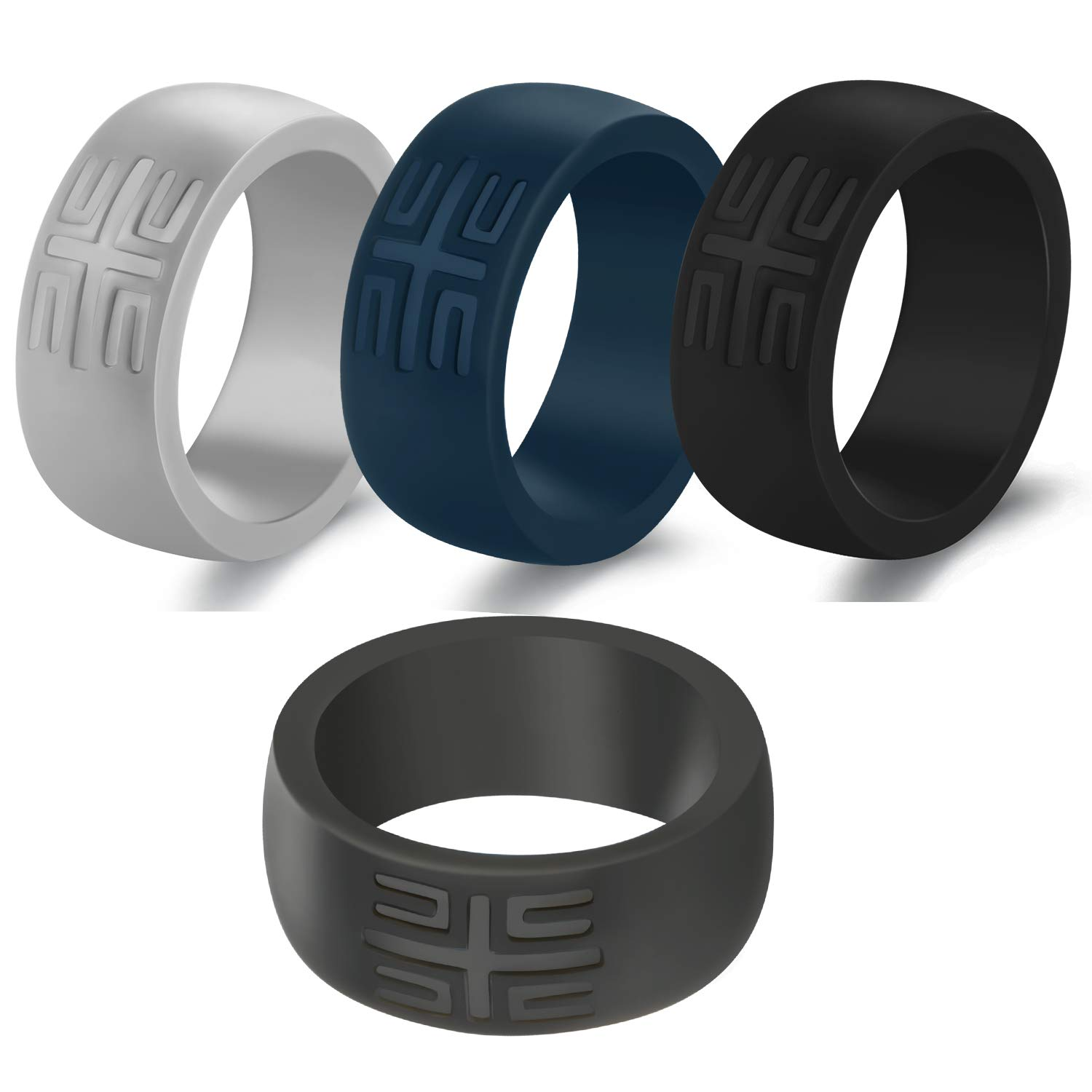 1 Pack// 2 Pack// 4 Pack with Pure Color Thin Silicone Bands YesFit Silicone Wedding Ring for Men 2019 Newest Mens Breathable Rubber Wedding Ring for Men